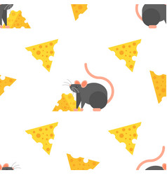 flat style seamless pattern with mouse and cheese vector image vector image