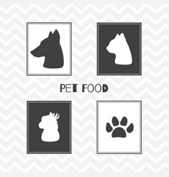 Hand drawn silhouettes pet food shop posters vector