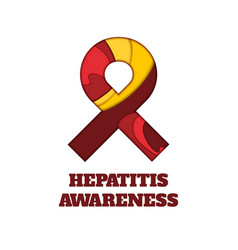 Hepatitis awareness papercut ribbon vector