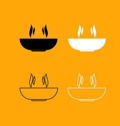 hot dish set black and white icon vector image
