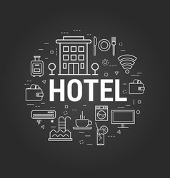 Hotel concept on black vector