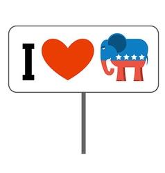 I love republicans symbol of elephant and heart vector