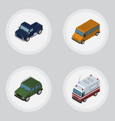 Isometric automobile set of autobus armored vector
