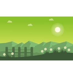 Landscape of spring on green backgrounds vector