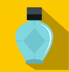 Light blue bottle of female perfume icon vector