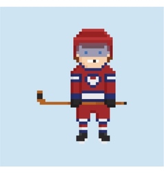 Pixel art style shows hockey player in red white vector