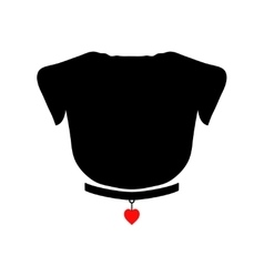 Pug silhouette with red heart on the collar good vector