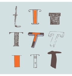 Set of colorful alphabet letters t vector