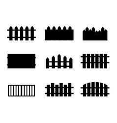 Set of rural black fences silhouettes vector