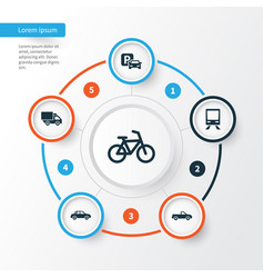 shipment icons set collection of bicycle vector image vector image