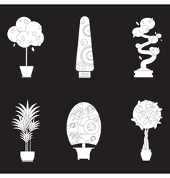 Silhouette icons of houseplants indoor and office vector image