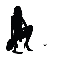woman black silhouette with martini glass vector image vector image