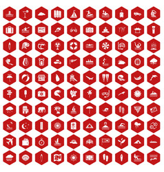 100 surfing icons hexagon red vector