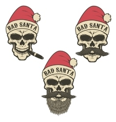 Bad santa set of skulls in santa claus hat with vector