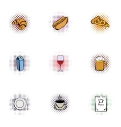 Unhealthy food icons set pop-art style vector image