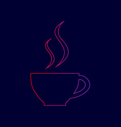 Cup of coffee sign  line icon with vector