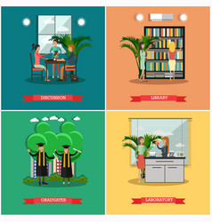 Set of university posters in flat style vector