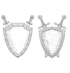 swords and shield hand drawn sketch vector image