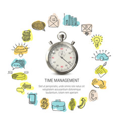 Time management round design vector