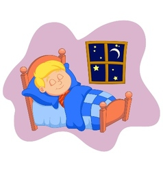 The boy cartoon was asleep in bed vector