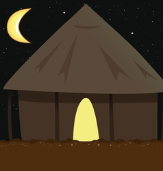 Village hut night vector