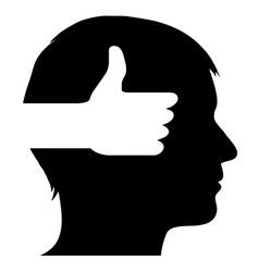 Male silhouette with thumb up symbol vector image