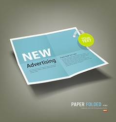 Blue paper folded four fold advertising vector