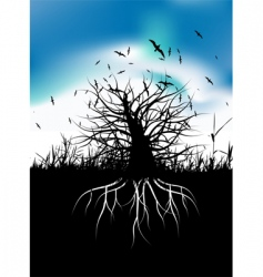Tree silhouette with roots vector