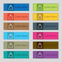 Weight icon sign set of twelve rectangular vector