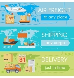 Set of delivery web banners vector