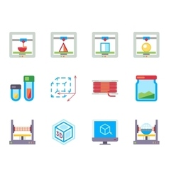 Printing 3d flat icons set vector
