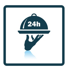 24 hour room service icon vector