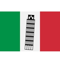 Pisa tower on background of italy flag vector