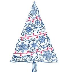 Christmas tree silhouette with ornaments vector