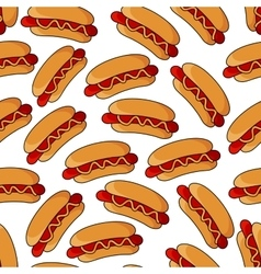 Appetizing hot dogs seamless pattern vector