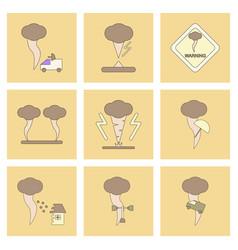 Assembly flat icons natural natural disaster vector