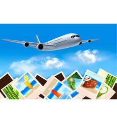 Background with airplane and with photos from vector image vector image