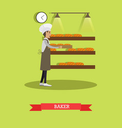 baker concept in flat style vector image
