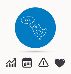 bird with speech bubble icon short messages vector image