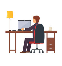 businessman programmer works vector image vector image