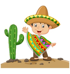 Cartoon boy wearing mexican dress vector