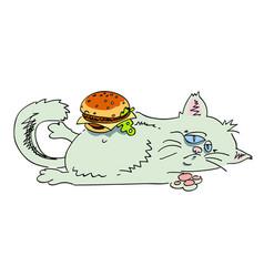 cartoon image of fat cat vector image vector image