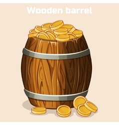 Cartoon wooden barrel full of gold coins the game vector