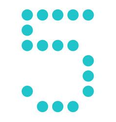 Digital number 5 five display board round dot vector