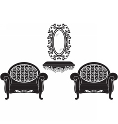 Elegant baroque luxury ornamented furniture set vector