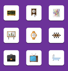 Flat icon oneday set of briefcase television vector