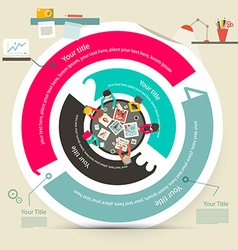 Four Steps Circle Infographics with Top View Table vector image vector image