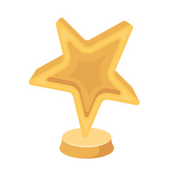 gold award in the shape of a starthe prize for vector image