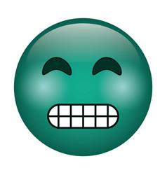 Grimacing face emoticon funny icon vector