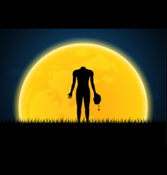 halloween headless zombie hold human head vector image vector image